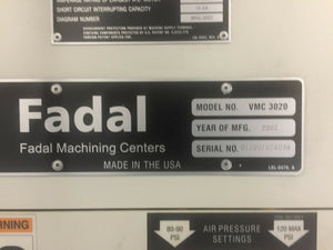 2002 Fadal 3020 VHT Extended Z Axis - 24 SMTC - 10k RPM - Thru Spindle Coolant