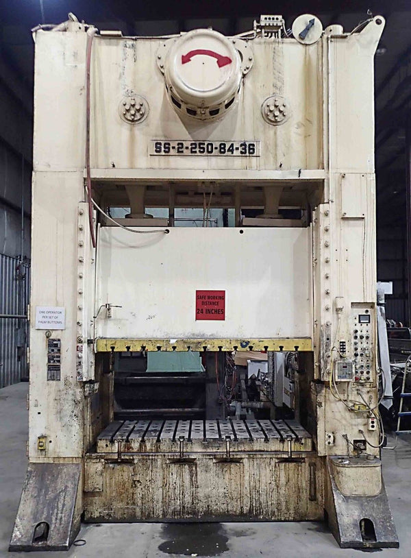 Danly 250 Ton Straight Side Press- Model SS2-250-84-36