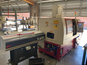Ganesh Cyclone 32 CS Swiss Lathe, 2006 - Barloader, Mistbuster, Tooling, Under Power for inspection