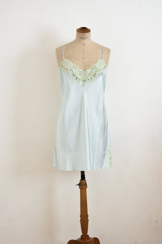 Vintage silk mint blue slip dress-M
