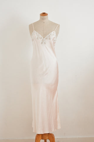 Vintage silk blush maxi slip dress -Small