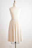 Vintage skirt oatmeal pleated 1970's- Small