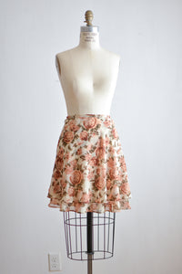 Vintage roses print skirt romantic -Small