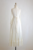 Vintage white gunnel sax dress maxi dainty laces-Small