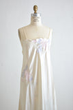 Vintage pearl silky dress embroidered florals-Small