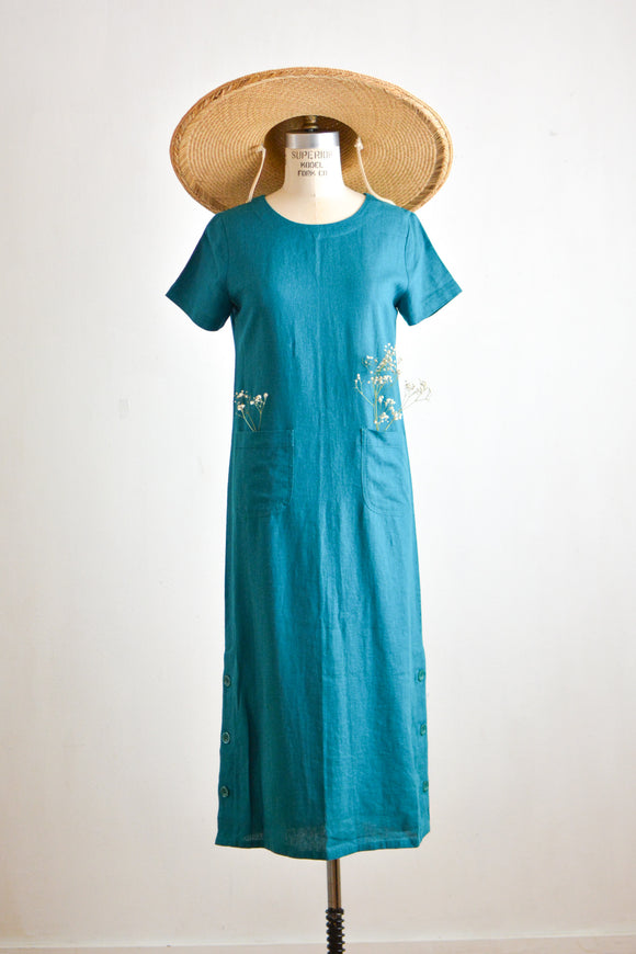 Vintage linen aqua green dress maxi -Small