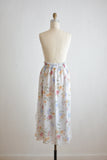 Vintage white midi skirt tiny little florals-L