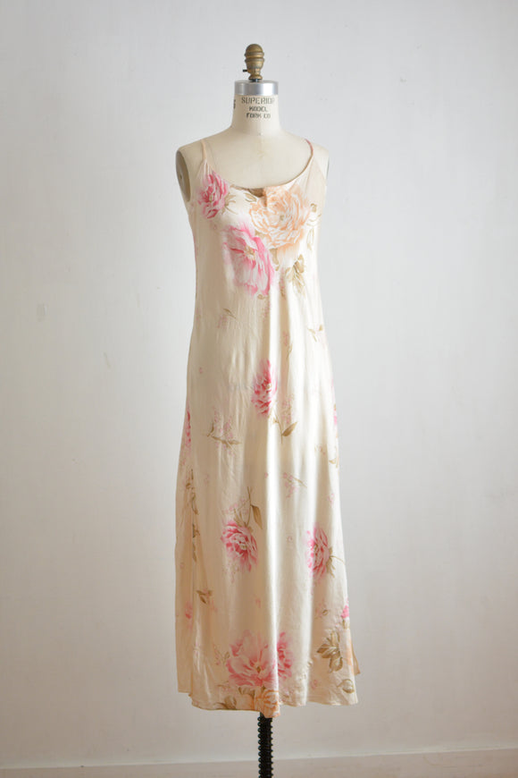 Vintage floral silk dress slip on-Small