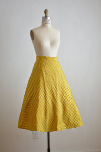 Vintage mustard yellow circle skirt
