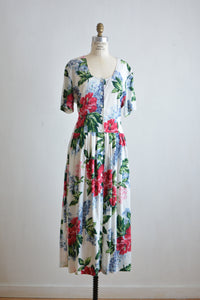 Vintage buttoned down floral dress -Large