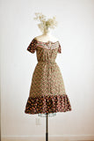 Vintage peasant floral dress 1970's romantic -small