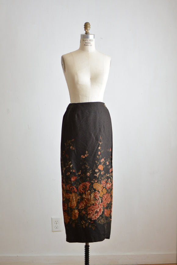 Vintage brown floral skirt- small