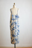 Vintage linen overall dress blue floral-XL