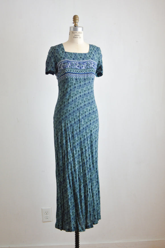 Vintage maxi dress classic romantic boho-S