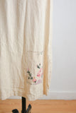 Vintage linen dress beige roses print-Medium