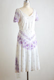Vintage white midi dress floral -Medium