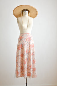 Vintage midi skirt fully lined floral- Medium
