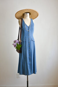 Vintage denim buttoned down dress-Small