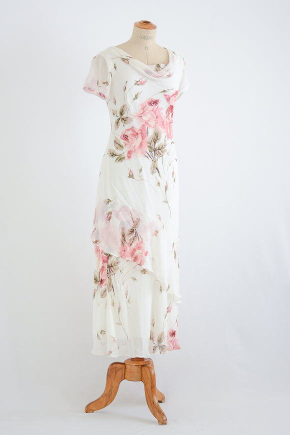 vintage roses romantic white dress 90's - small