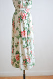 Vintage white floral dress midi -small