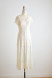 Vintage sheer floral cream dress -medium