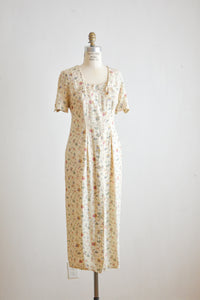 Vintage maxi buttoned down dress wildflower- Large