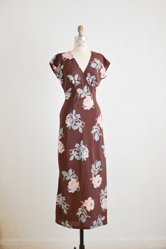 Vintage brown roses maxi dress-Small