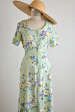 Vintage lime floral dress-small