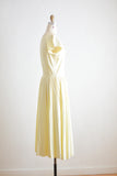 Vintage buttoned down soft yellow dress- S/M