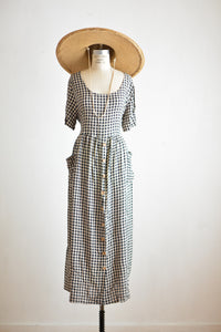 Vintage checkered maxi dress -  X-large