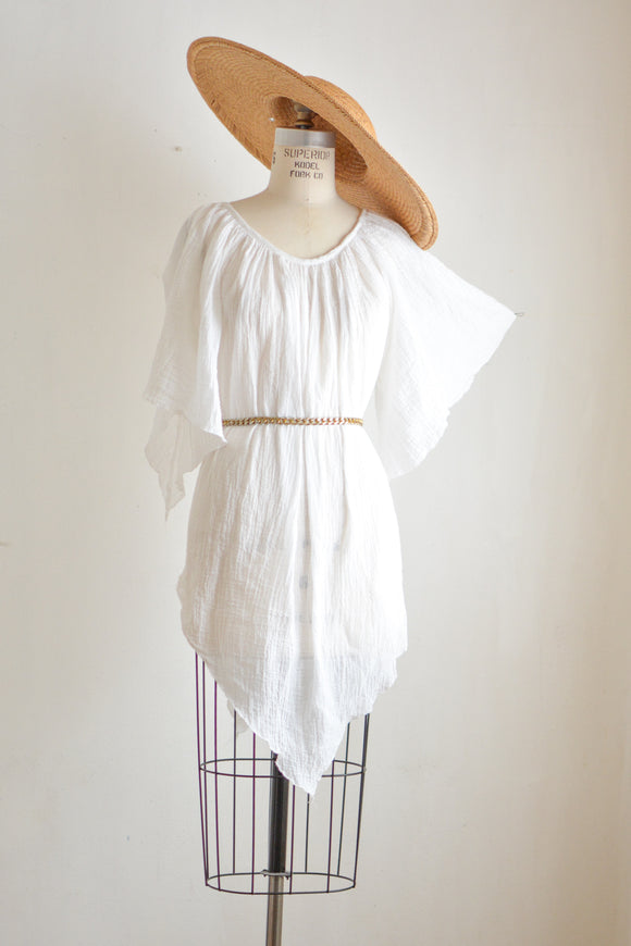 Vintage gauze white cotton blouse -Small