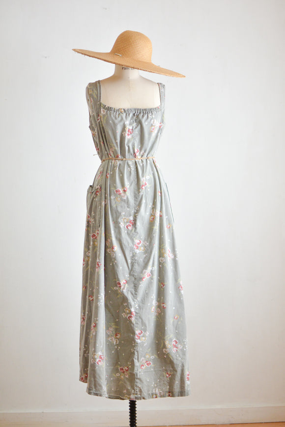 Vintage gray slip on maxi dress- Medium