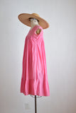vintage pink peasant cotton dress -small