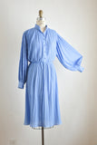 Vintage midi puffer sleeve blue dress- Large