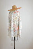 Vintage rose prints semi sheer cardigan. -Large/XXL