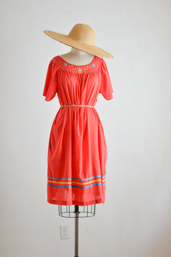 Vintage cotton slip on red dress- Small