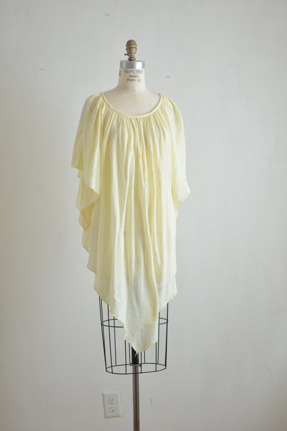 Vintage cotton yellow blouse -Large