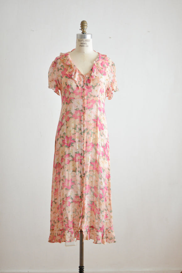 Vintage silk blush floral buttoned down dress -S/M