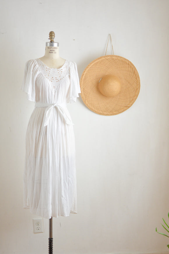 Vintage white 1970's gauze cotton dress-S/M
