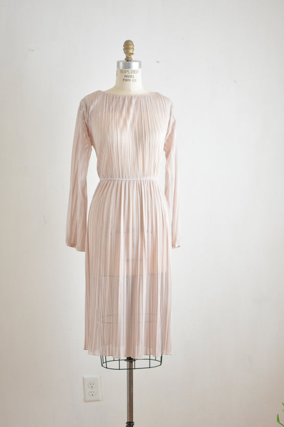 Vintage striped midi dress semi sheer -Large/X-large