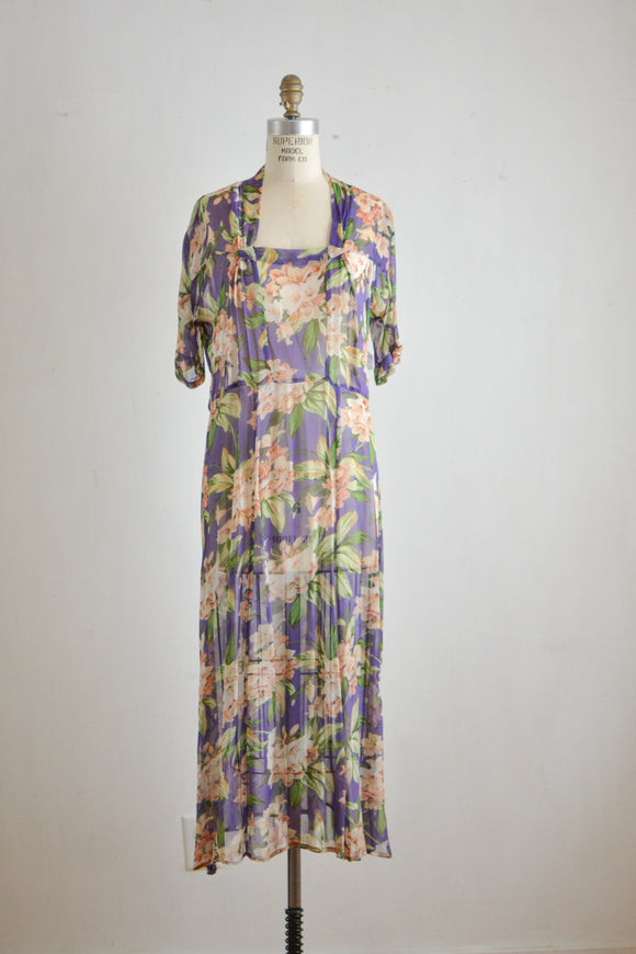 vintage purple floral dress- M