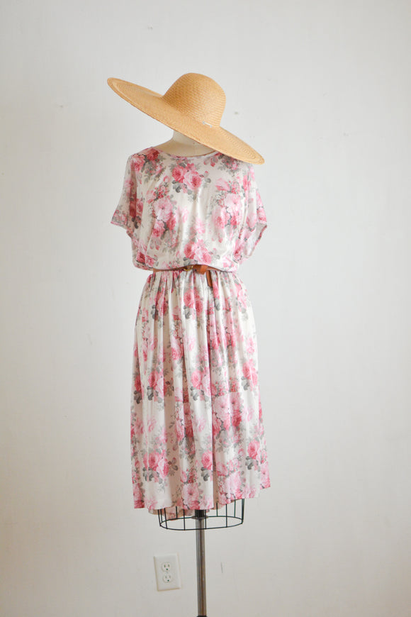 Vintage roses midi dress fit and flared-plus size
