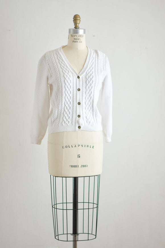 Vintage white cotton knit sweater -Small