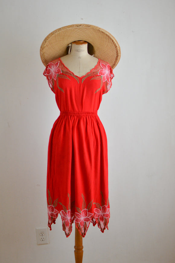 Vintage red two piece floral romantic