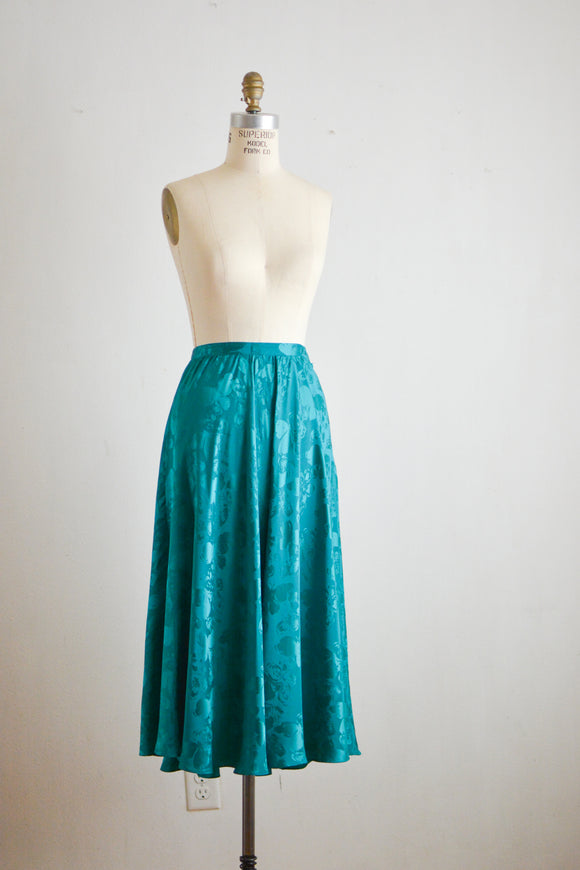 Vintage silk midi skirt fit and flared aqua- XS
