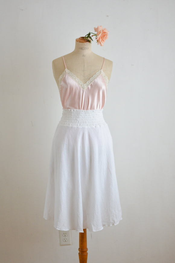 White high waisted cotton skirt -S/M