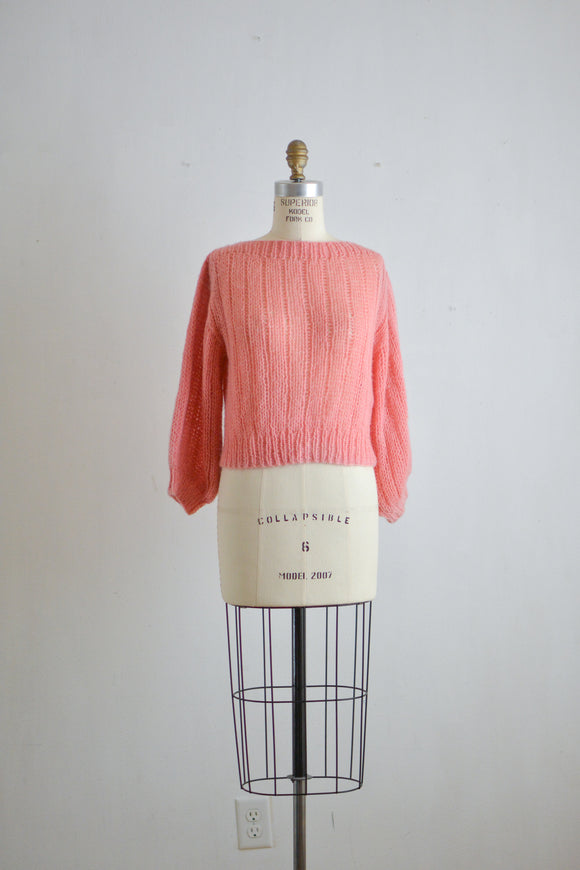 Vintage knit pink sweater -Small
