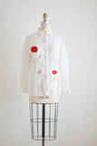 Vintage linen blouse floral embroidered poppies-M/L