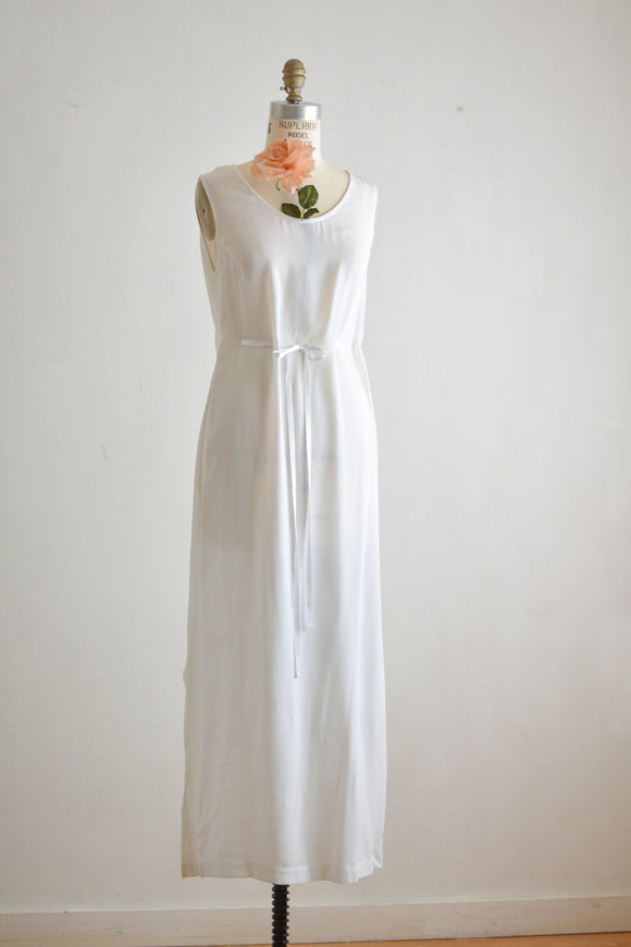 Vintage white 90's maxi dress- Medium