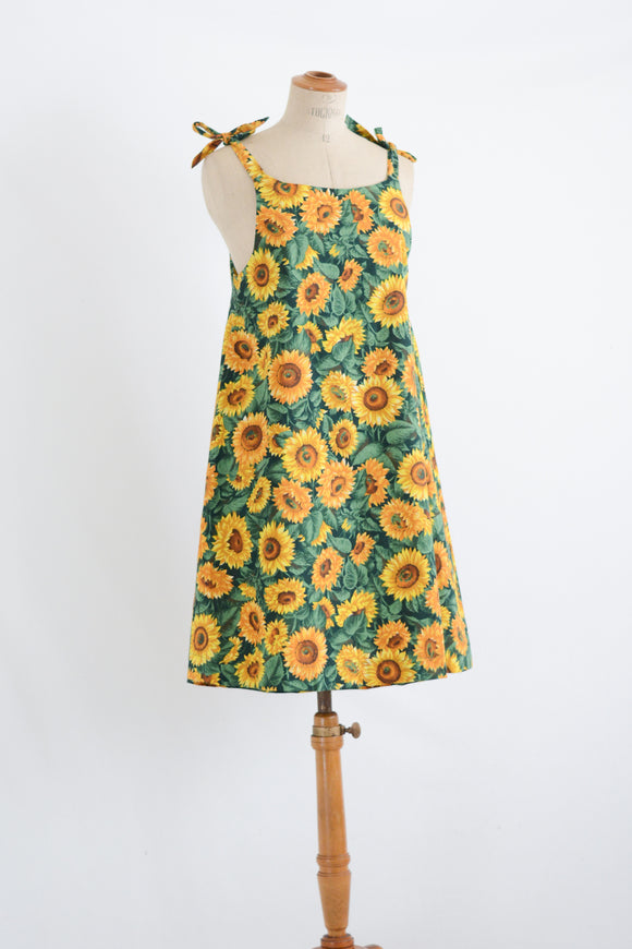 Vintage sunflower apron dress-Small